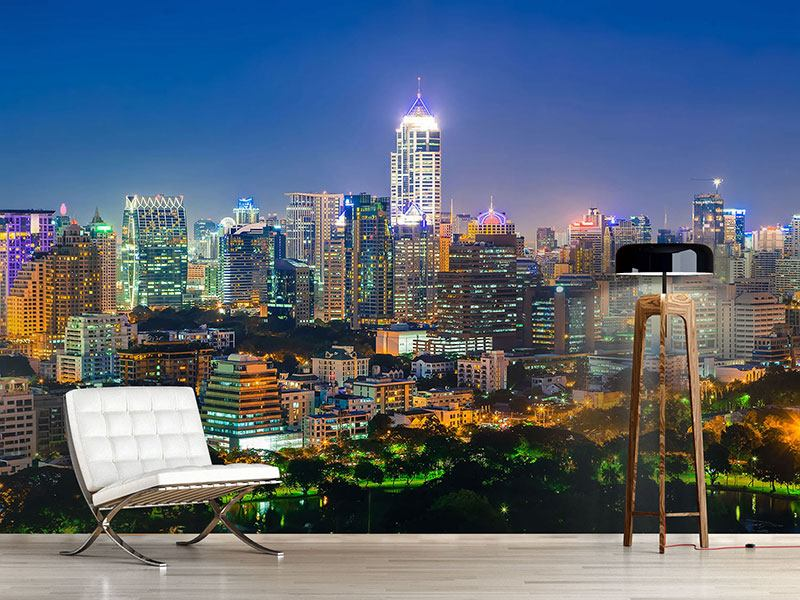 Wandbespannung Skyline One Night in Bangkok