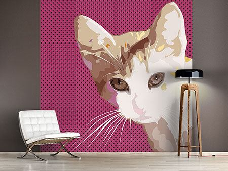 Wandbespannung Pop Art Katze
